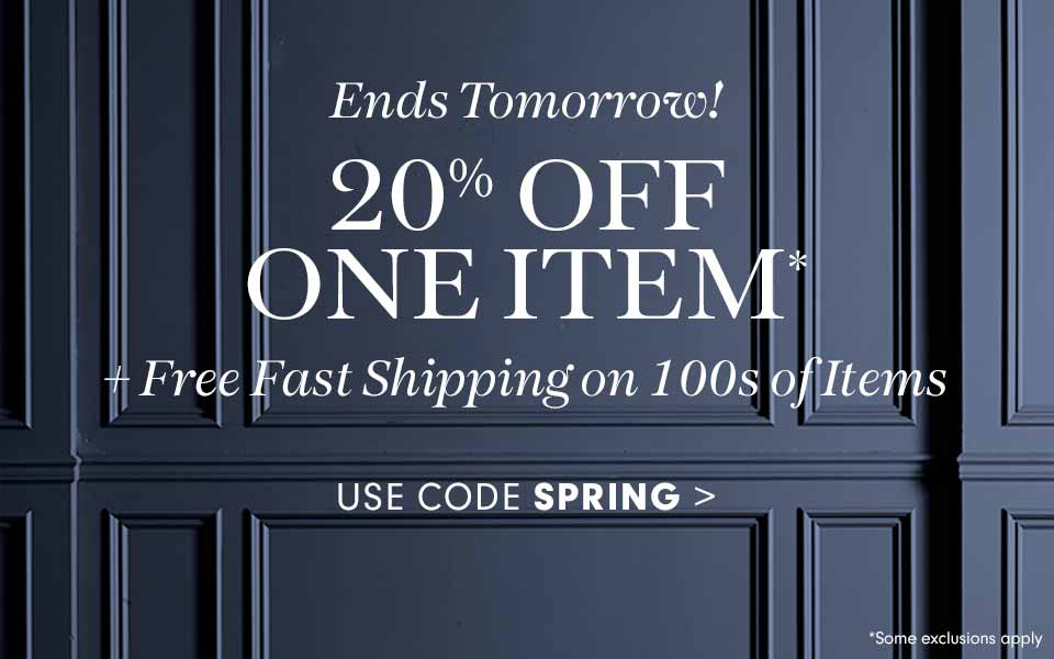 Ends Tomorrow! 20% off One Item